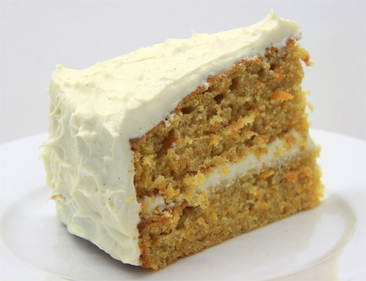 a slice of the finished carrot cake